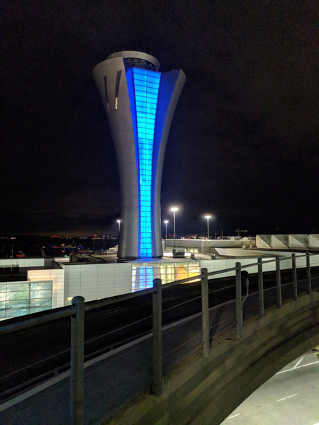 SFO Control tower, night.