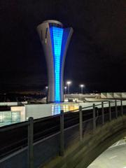SFO Control tower, night.