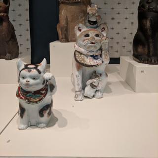 Maneki Neko at SFO, many pieces on loan from the Mingei International Museum.