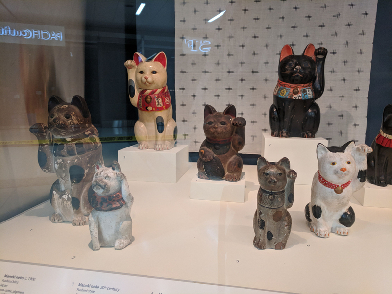Maneki Neko at SFO, many pieces on loan from the Mingei International Museum.