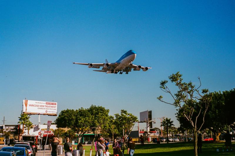 KLM 747 lands at LAX
