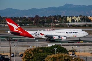 Qantas Boeing 747-400 awaits departure at LAX