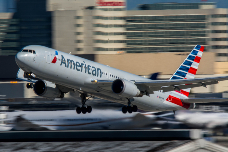 American Airlines Boeing 767 departs LAX