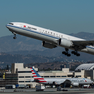 Air China Boeing 777-300ER departs LAX