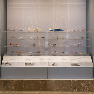 "Installation view of ""Aviation Evolutions: The Jim Lund 1:72 Scale Model Airplane Collection"""