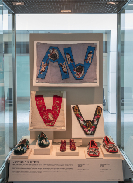 """Installation view of """"Stepping Out: Shoes in World Cultures"""""""