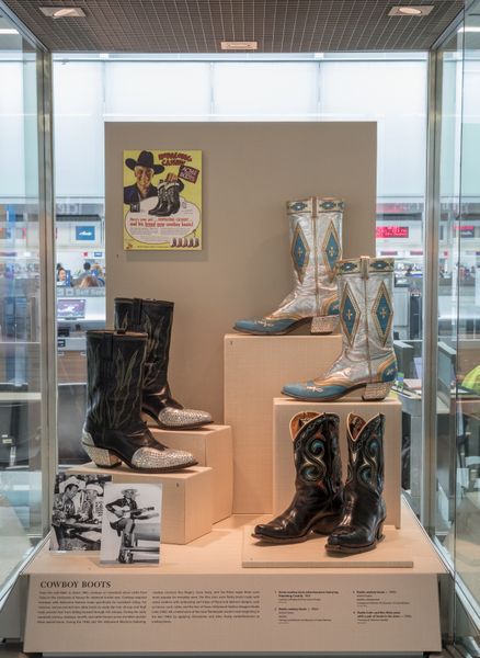 "Installation view of ""Stepping Out: Shoes in World Cultures"""