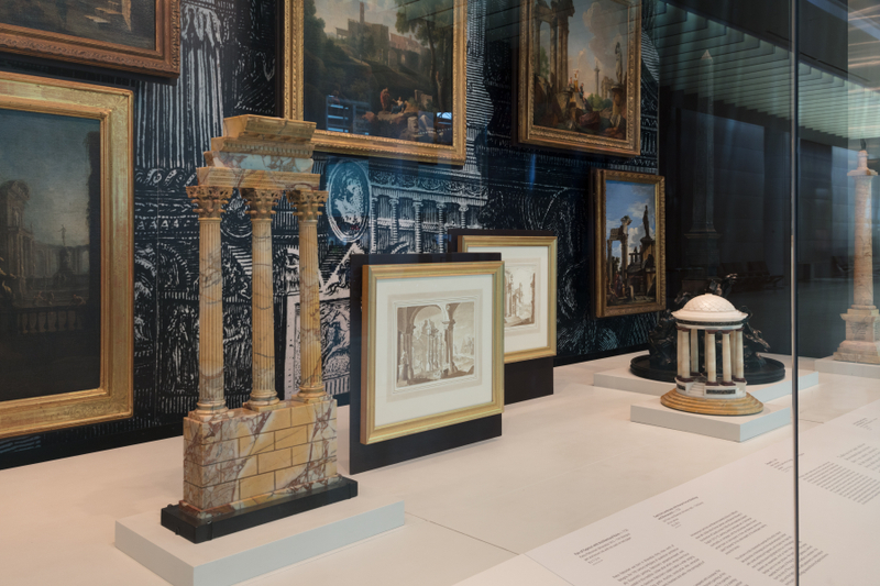 "Installation view of ""All Roads Lead to Rome: 17th - 19th Century Architectural Models from the Collection of Piraneseum"""