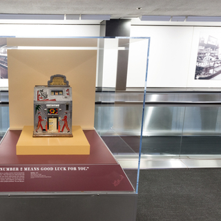"""Installation view of """"Games of Chance: Gambling Devices of the Mechanical Age"""""""