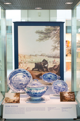 """Installation view of """"From Print to Plate: Views of the East on Transferware"""""""