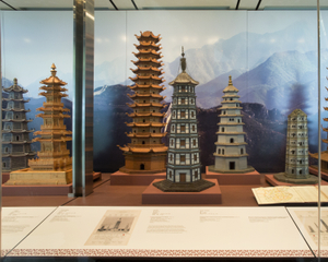 """Installation view of """"The Tushanwan Pagodas: Models from the 1915 Panama-Pacific International Exposition"""""""