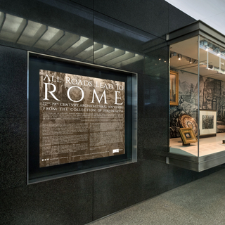 """Installation view of """"All Roads Lead to Rome: 17th - 19th Century Architectural Models from the Collection of Piraneseum"""""""