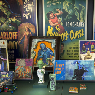 "Installation view of ""Classic Monsters: The Kirk Hammett Collection"""