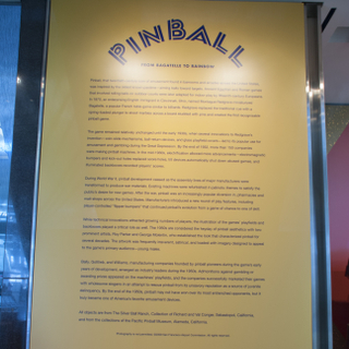 """Installation view of """"Pinball! From Bagatelle to Rainbow and Flipper to Twilight Zone"""""""