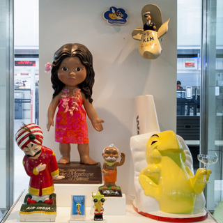 """Installation view of """"A World of Characters: Advertising Icons from the Warren Dotz Collection"""""""