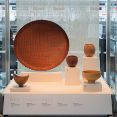 "Installation view of ""Turn, Weave, Fire and Fold: Vessels from the Forrest L. Merrill Collection"""