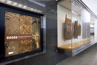 "Installation view of ""Doors: Entryways to World Culture"""