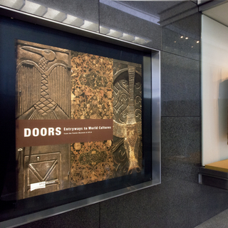 """Installation view of """"Doors: Entryways to World Culture"""""""
