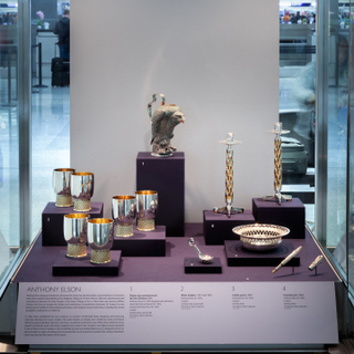 "Installation view of ""A Sterling Renaissance, British Silver Design 1957-2018"""