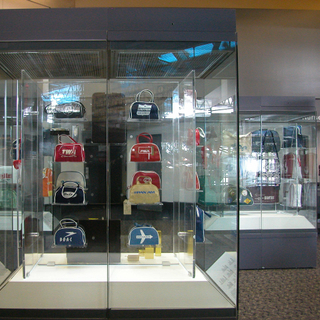 """Installation view of """"The Flight Bag: Icon of Air Travel"""""""