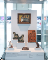 "Installation view of ""Caticons: The Cat in Art"""