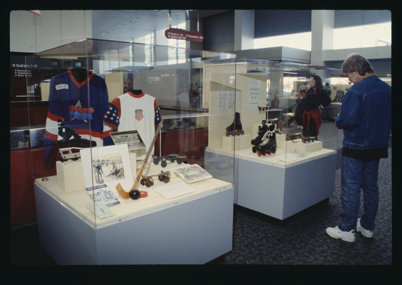 "Installation view of ""A Medley of Skates and Memorabilia"""