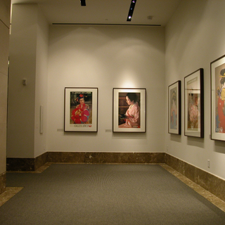 """Installation view of """"Flight of the Crane: Japan Air Lines Travel Posters"""""""
