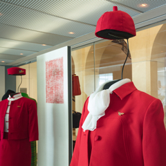 "Installation view of ""Fashion in Flight: A History of Airline Uniform Design"""
