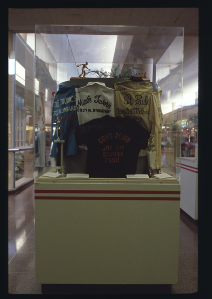"""Installation view of """"Bowling: A Unique American Art Form"""""""