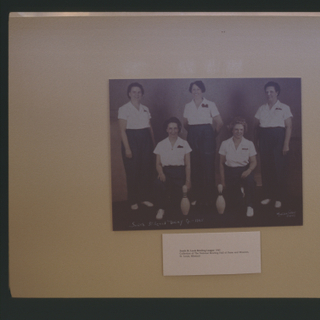 "Installation view of ""Bowling: A Unique American Art Form"""
