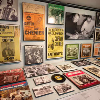 """Installation view of """"Down-Home Music: The Story of Arhoolie Records"""""""