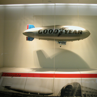 """Installation view of """"The Golden Age of Airships"""""""