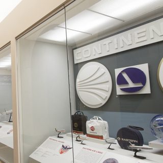 """Installation view of """"Airline Identity: Marks, Brands and Logos"""""""