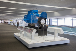 """Installation view of """"Flying the Main Line: A History of United Airlines"""""""