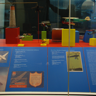 """Installation view of """"Young Eyes on the Skies: The Golden Age of Aviation Toys"""""""