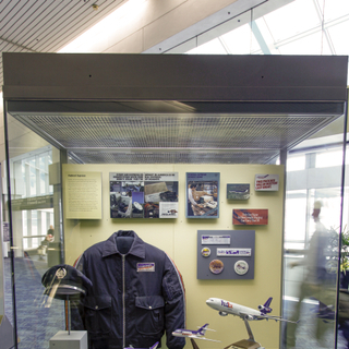 "Installation view of ""How Freight Flies: A Legacy of Air Cargo Carriers"""
