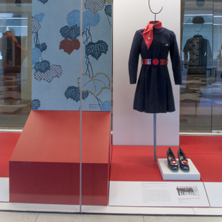 """Installation view of """"Japan Airlines: Over Fifty-Five Years of Service"""""""
