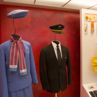 "Installation view of ""Catch Our Style: California Regional Airlines"""