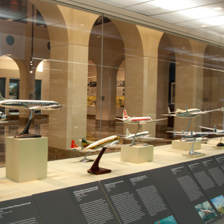 """Installation view of """"Postwar Propliners in Miniature: Models from the Collection of Anthony J. Lawler"""""""