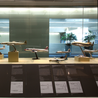 "Installation view of ""Postwar Propliners in Miniature: Models from the Collection of Anthony J. Lawler"""