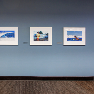 """Installation view of """"Jeff Devine: 1970s Surf Photography"""""""