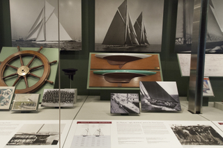 "Installation view of ""America's Cup, Sailing for International Sport's Greatest Trophy 1851-1937"""