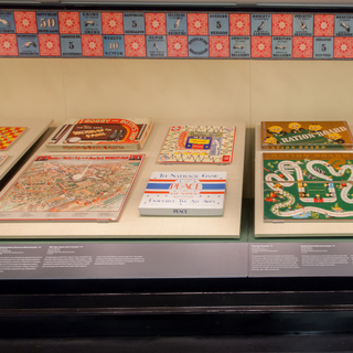 "Installation view of ""Let's Play! 100 Years of Board Games"""