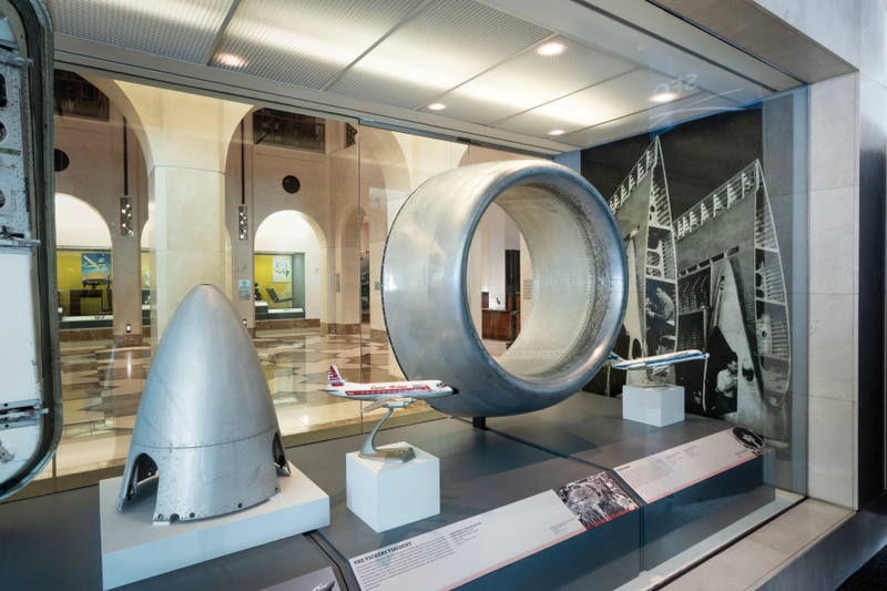 "Installation view of ""Aluminum: the Miracle Metal of Aviation"""