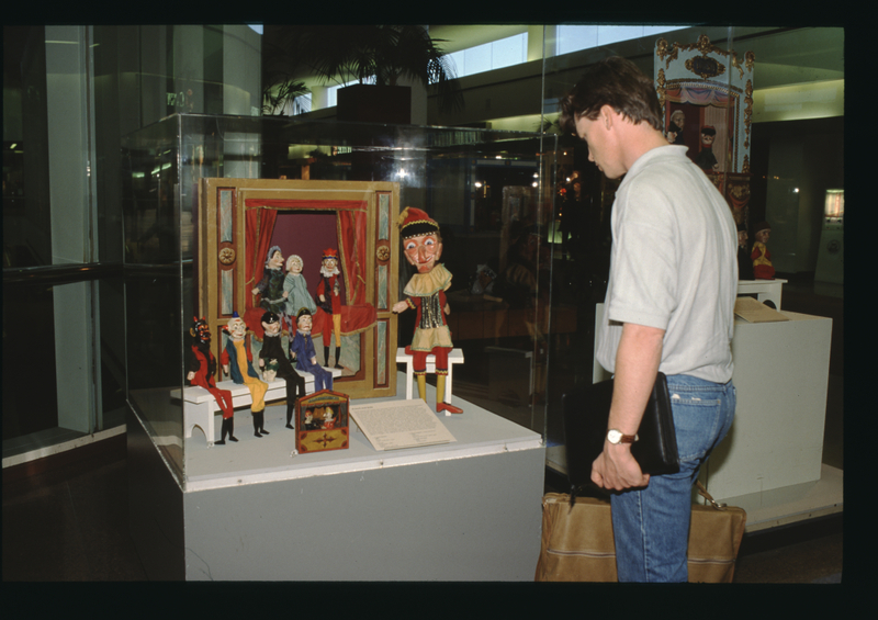 """Installation view of """"A World View of Puppets"""""""