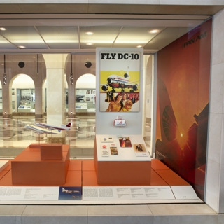 """Installation view of """"Widebody: The Launch of the Jumbojets in the Early 1970s"""""""