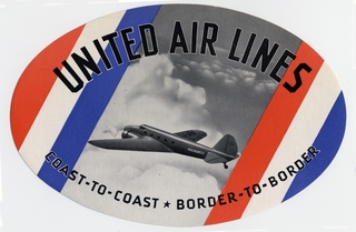 luggage label: United Air Lines; Boeing 247D