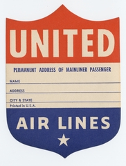 luggage identification label: United Air Lines