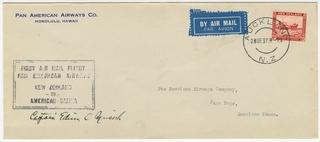 airmail flight cover: Pan American Airways, Second Survey Flight, New Zealand - Pago-Pago (Samoa), Captain Edwin Musick
