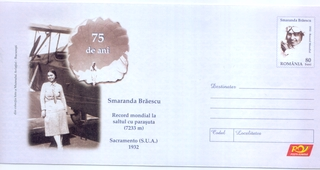 airmail flight cover: Commemorative flight cover for Romanian pilot Smaranda Braescu (digital image)